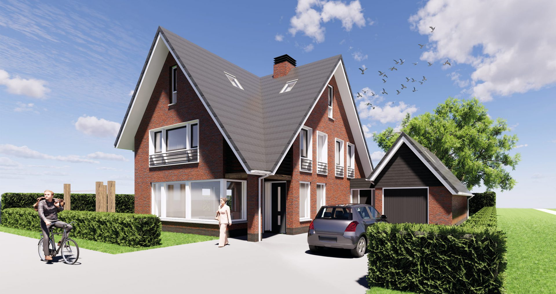 Villa woningbouw 3d tekening